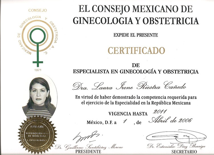Certificado de Especialista en Ginecología y Obstetricia